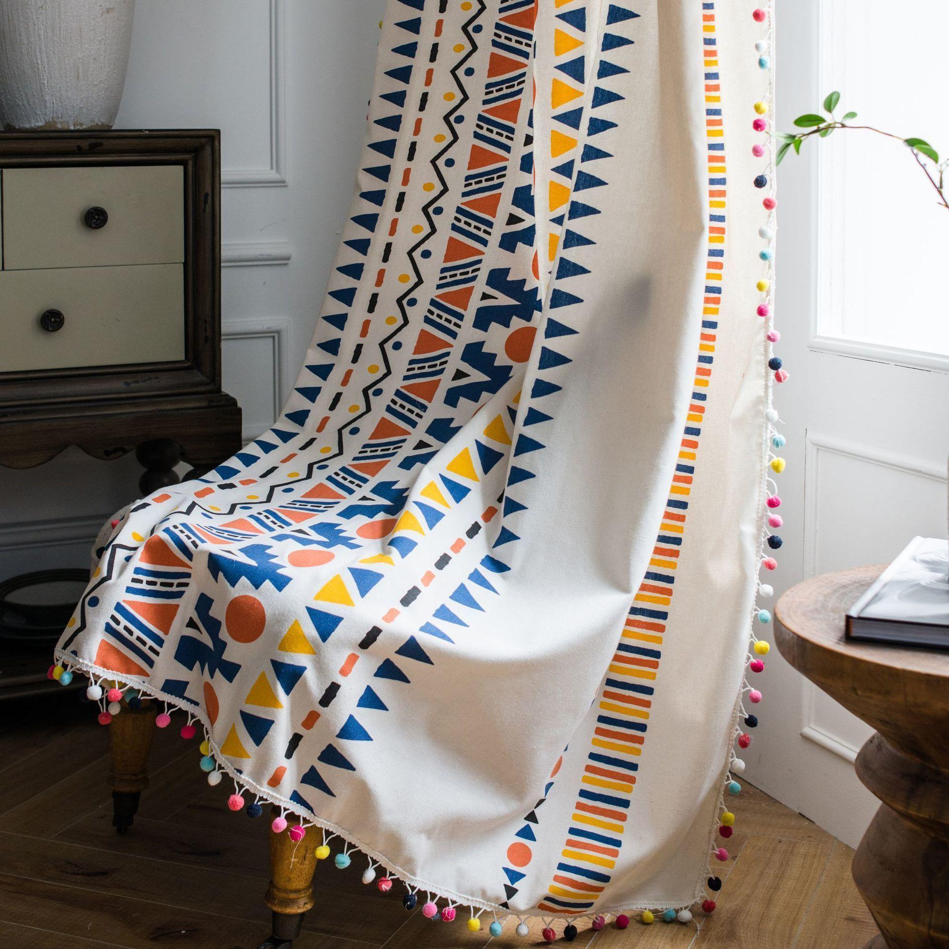 Красочные богемные деревенские шторы для гостиной спальня окна готовые изготовленные хлопковые льняные кухня занавес lj201224