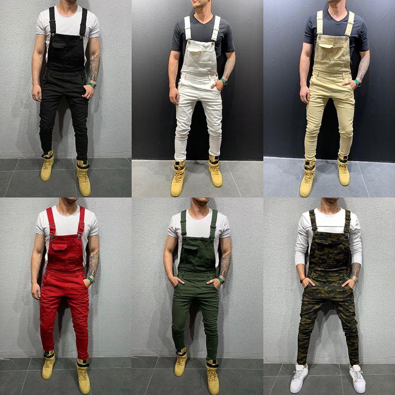 Erkek Beyaz Denim Tulum Moda Kırmızı Slim-Fit Ayaklar Pantolon Streç Hayır Delikler Denim Sokak Gelgit İnce Erkek Pantolon