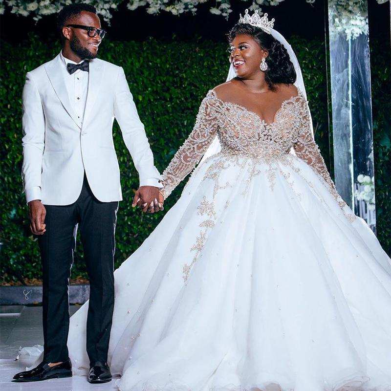 Gorgeous White Plus Size Wedding Dresses African Women Beaded Long Sleeves Crystal Sheer Jewel See Though Top Bridal Dress Custom Party
