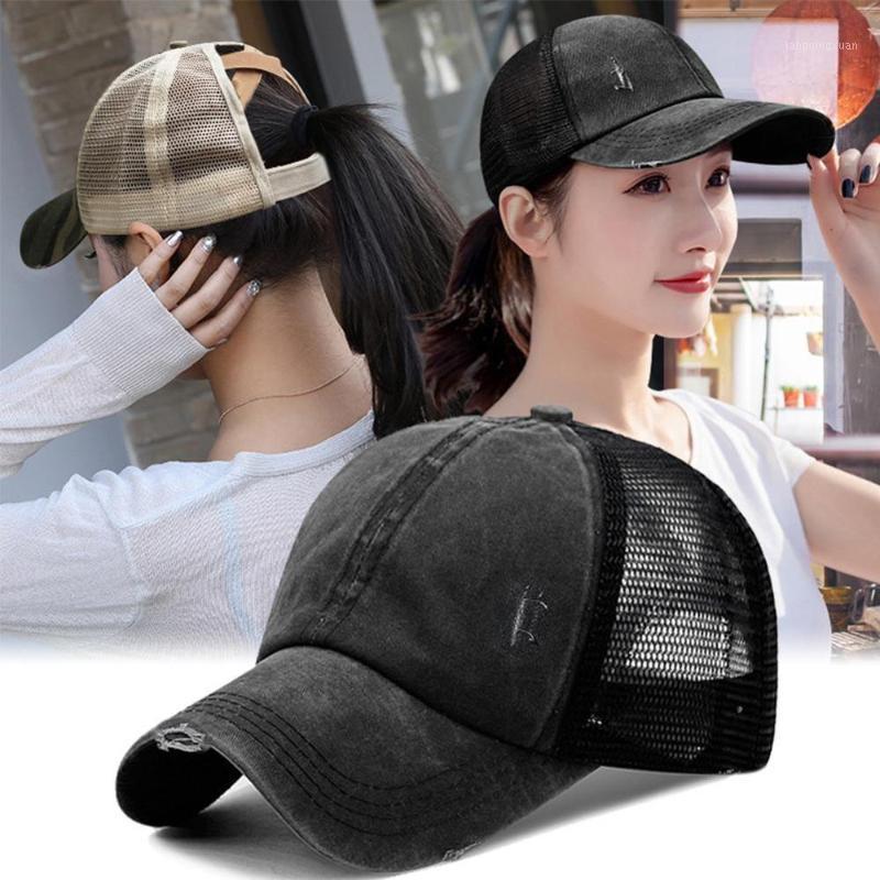 Cappello da baseball regolabile Cappelli di Bun Delle Donne Cappelli per le donne Lavato in cotone Cappellini Snapback Casual Estate Visiera Sole Visiera All'aperto Hat1