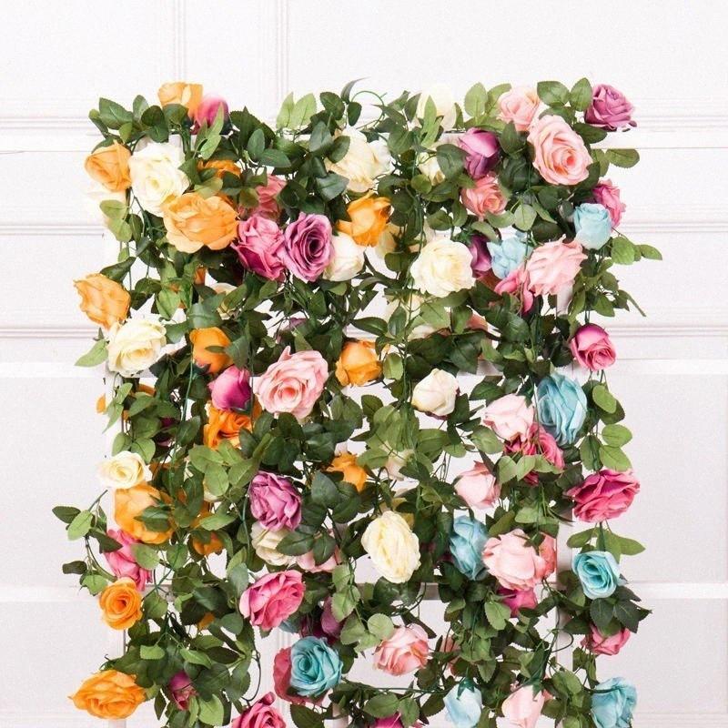 10 teste Rose vite fiori artificiali Rose Falso pianta di vite Piante foglie artificiali Garland Fiori della decorazione della parete di nozze c38i #