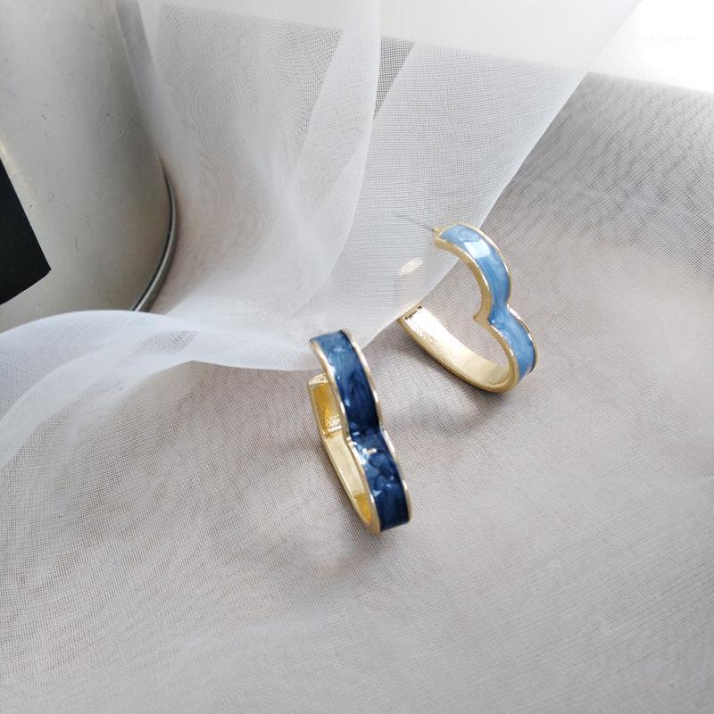 Шпилька французский синий капельницы свежие ушные серьги романтические влюбленности круга творческие асимметричные женщины украшают артикул1