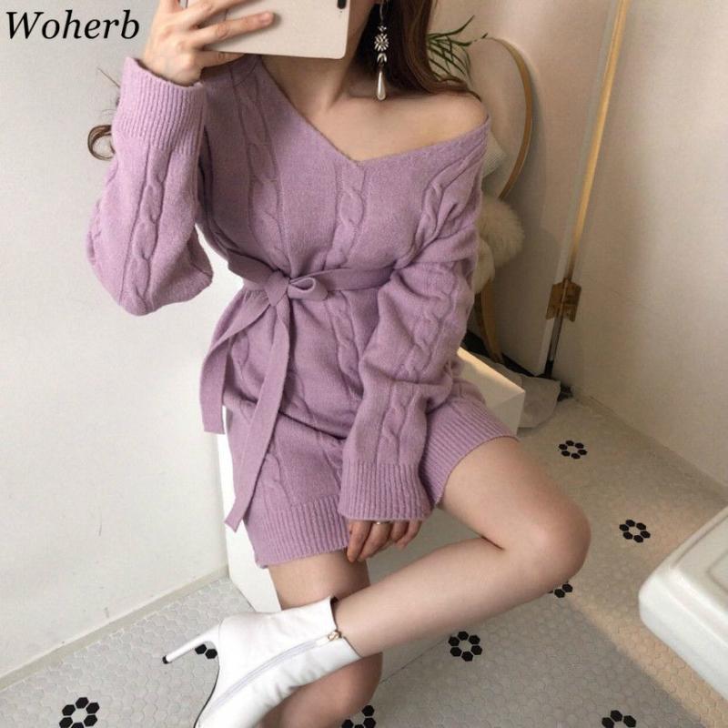 WOHERB Örme MIDI Elbiseleri Kadınlar için Güz Kış Giyim Mizaç Bandaj Ince Bel Robe Elbise V Yaka Bodycon Vestidos