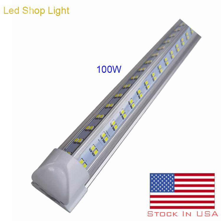 LED Shop Light، 8ft، مدمج T8 LED أنبوب الإضاءة، 4 صف 144W 14400LM، 6000K-6500K أبيض، شكل V- شكل أنبوب الصمام