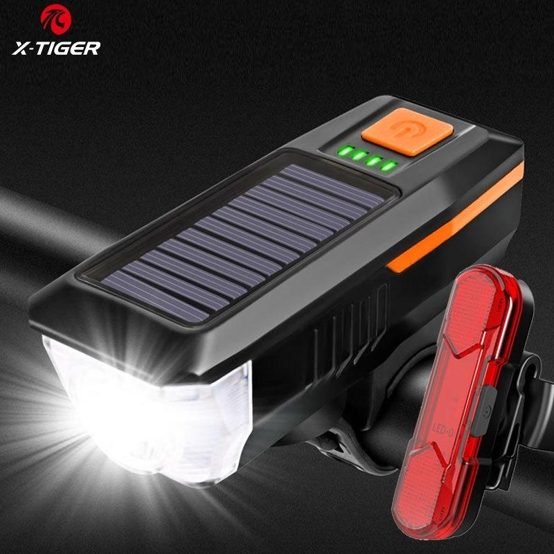 X-Tiger Solar Bike Light Set ماء MTB دراجة ضوء الأمامي مع القرن USB قابلة للشحن السلامة تحذير دراجة الخلفية الخلفية 201030