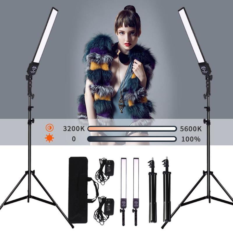 GSKAIWEN 2 Packs Dimmable Bi-Color Photography Lighting Studio LED Video Light Kit with Tripod Stand for Portrait Product Shoot