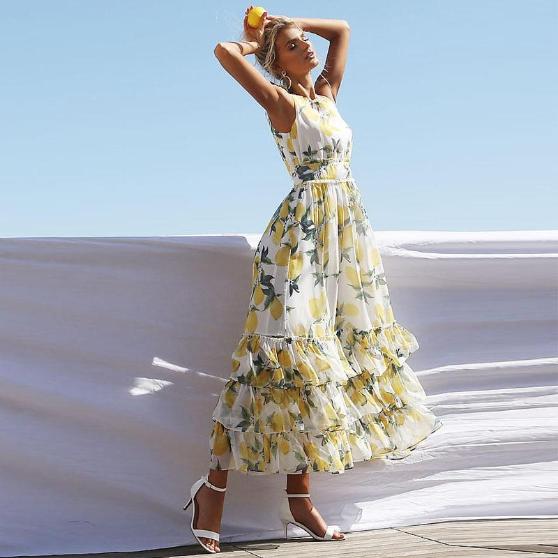 Лимон Print Maxi Платье Женщины Летние 2020 Без Рукавов О Шеи Каскадирование Оригинальные Урожай Vestidos Beach Повседневная Носите Boho Длинное платье
