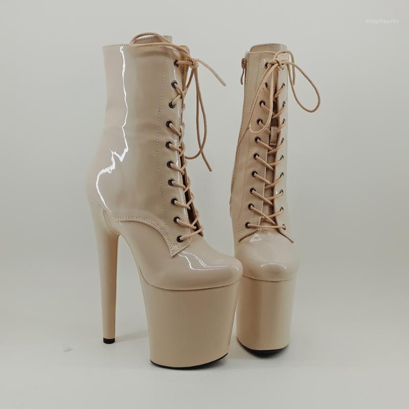 Boots LeeCabe Shinny Beige 20 см / 8 дюймов полюс танцы обувь на высоком каблуке платформа закрытый носок танцевальный загрузчик1