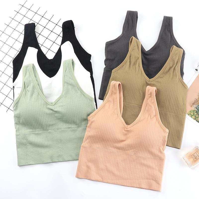 Fashion Breathable Crop Top Workout High Impact Running Fitness Strappy Sports Bra Women Underwear Tops