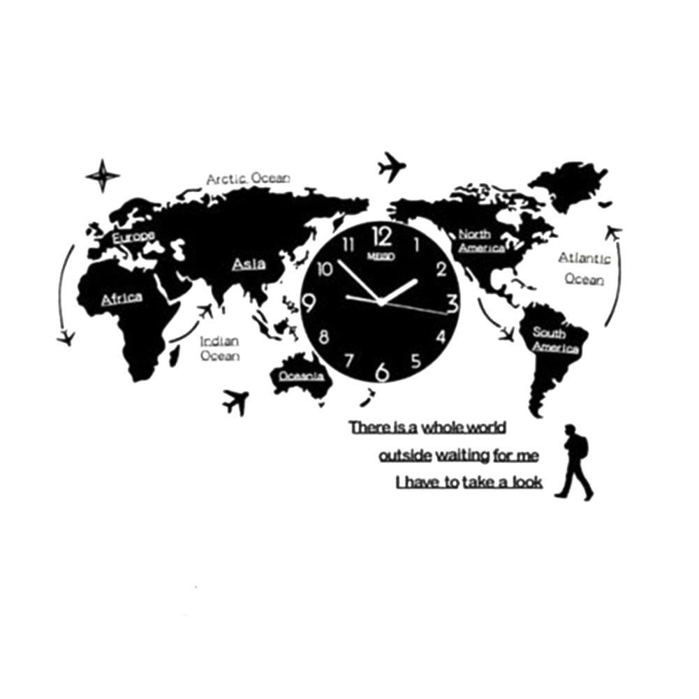 Horloge murale acrylique unique Creative World Carte Mur Horloge Horloge murale avec carte du monde pour salon à la maison sans batterie