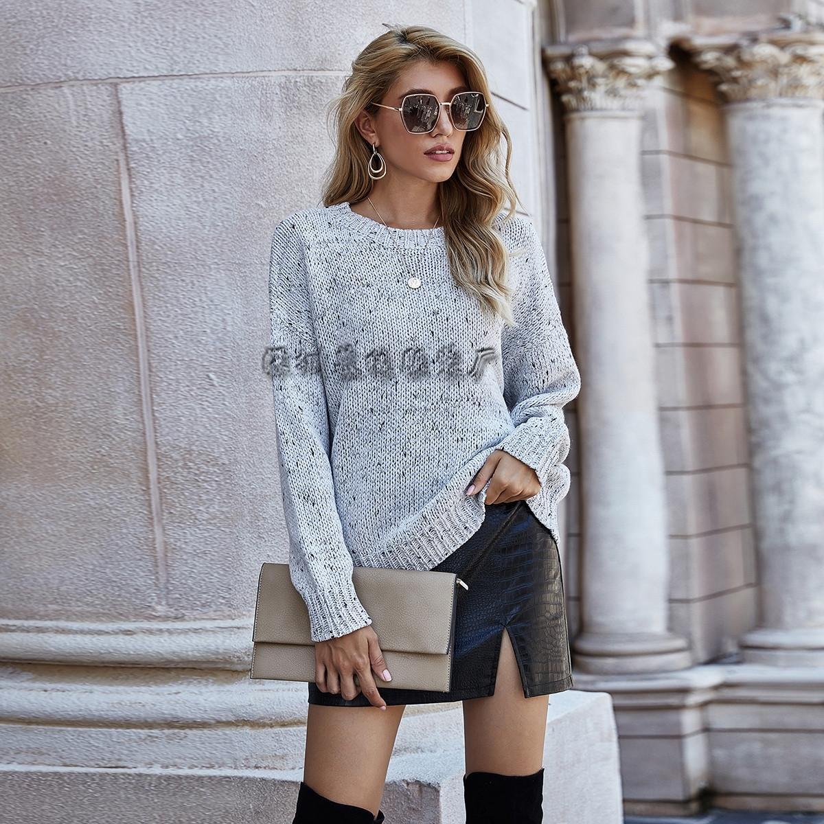 mB370 Nuovo Pullover dell'inverno Top pullover 2020 del manicotto lungo allentato rotondo maglia larga parte superiore del collo autunno per le donne MZQQD