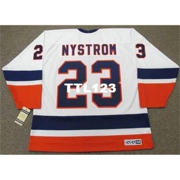 740 # 23 Bob Nystrom New York Adaları 1982 CCM Vintage Ev Hokey Forması veya Özel Herhangi Bir Adı veya Numarası Retro Jersey