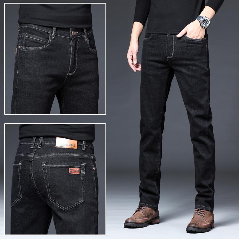 Новые мужские Марка черные синие джинсы Брюки мужские Одежда Эластичность Узкие джинсы Бизнес Повседневный мужчина Denim Тонкий штаны Классический Sty
