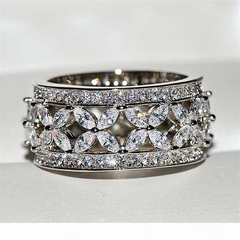 Classical Jóias Vendidos Moda 925 Sterling Silver Marquise Cut Branco Topaz Gemas partido diamante CZ Mulheres casamento da faixa presente Ring