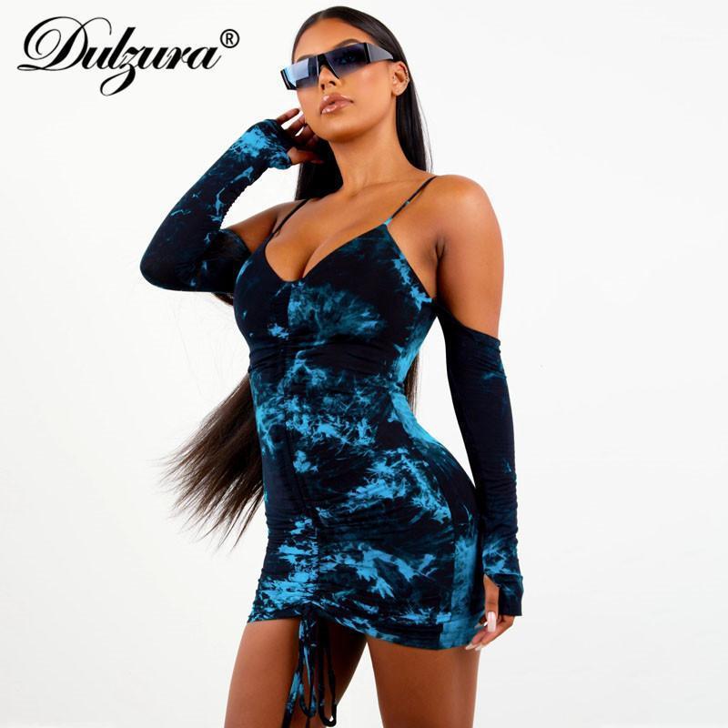 Du Dulzura Tie Dye Robe Cordon Cordon Bodycon Gants à manches longues à l'épaule Streetwear Party 2020 Automne Hiver Clubwear Vêtements1