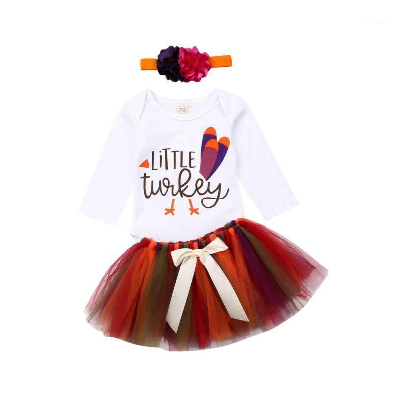 Комплекты одежды Турция Благодарение одежды набор одежды Baby Girl с длинным рукавом Осенний ползунок Tulle юбка набор голодов набор