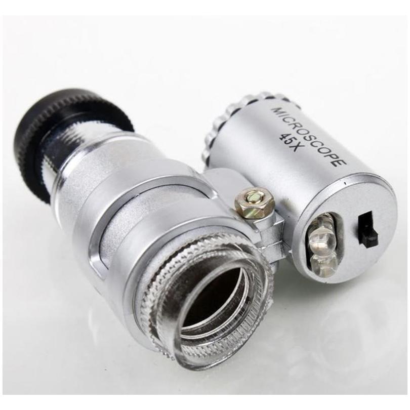Mikroskop 45x Kuyumcu Büyüteç Takı Loupes Mini Büyüteçler Cep Mikroskoplar LED Işık + Deri Pouc Sqcubf HOMES2007