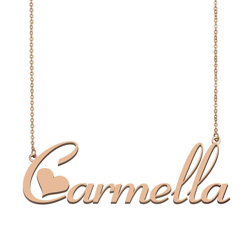 Carmella Custom Name Halskette Personalisieren Anhänger für Männer Jungen Geburtstags-Geschenk Beste-Freunde-Schmucksachen 18k Gold überzogener Edelstahl