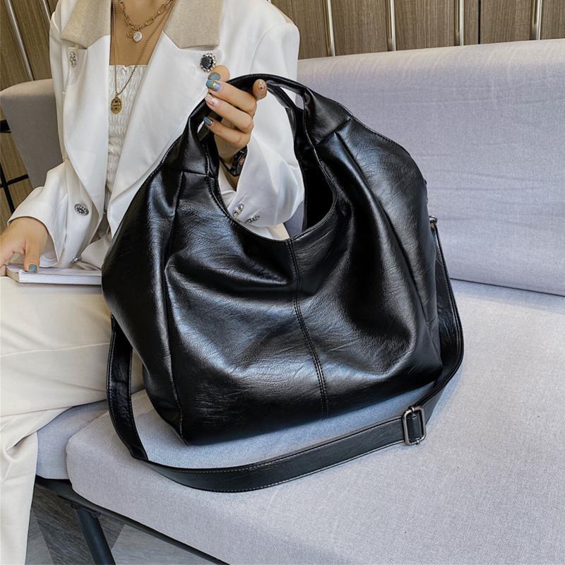 Asas de cuero de las mujeres Hobo bolsa grande bolsos para las mujeres 2020 bolsos de hombro femenino grande del color sólido Bolsas Cruzado simples Balck Sac