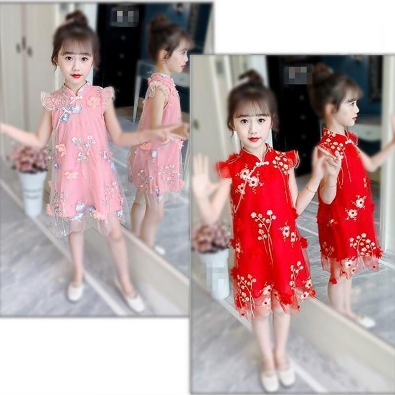 Новый летний китайский стиль мода девушка платье Q0113