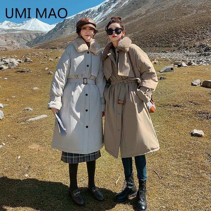 UMI MAO 2021 Neue lange über-the-knie-Torte überwindet den Winter insosen lose gepolsterte Mantel Frauen dünne Freundinnen Mantel1