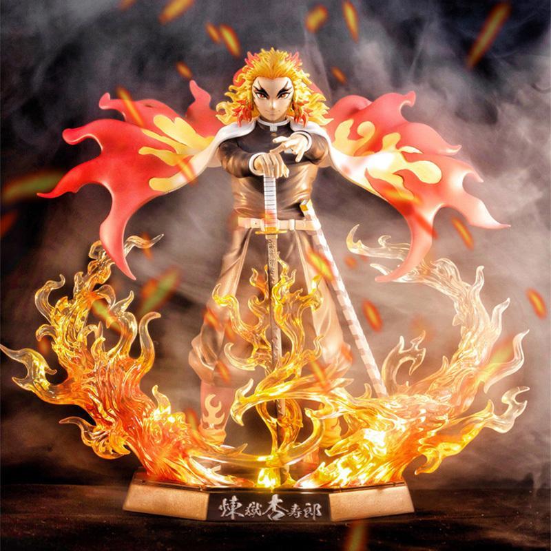 25cm Demon Slayer Rengoku Kyoujurou PVC Figuras de Ação Brinquedos Gk Anime Kimetsu No Yaiba PVC Figurine Toy 1008
