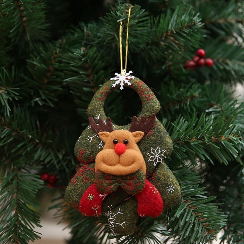 New Style Non-woven Fabric Doll Christmas Tree Pendants Elk Santa Claus Snowman Bear Ornament Xmas Door Hanging for 2020 Chri