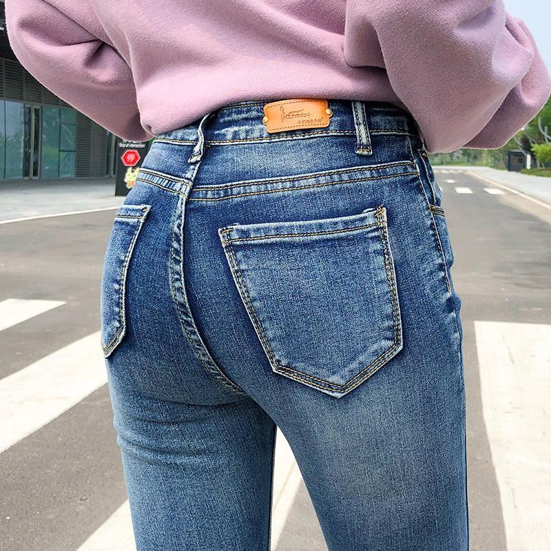 Женщины растягивают высокую талию зима теплая негабаритные джинсы леди плюс размер тощие брюки толчок уклон джинсы карандашные брюки 210202