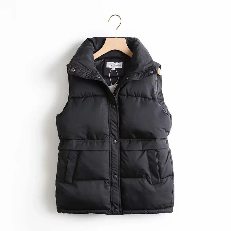Autumn Winter Women's Solid Loose Vest Drawstring Stand Collar Long Vest Jacket Cotton Padded Women's Windproof Warm Waistcoat 201016