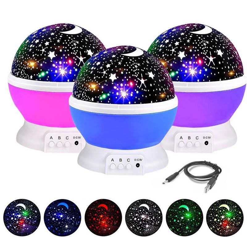 360 градусов Starry Sky Moon Night Projector Детская Спальня Лампа Романтическая Комната Вращающаяся Вселенная Звездный проектор Световой Рождество