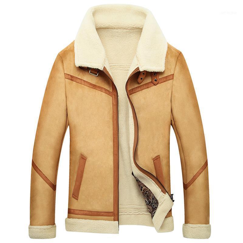 Manteau de fourrure en peau de mouton chaud d'hiver Manteau de luxe en cuir de luxe Outwear molleton doublé épais Bombardier Moto Moto Cuir manteau 1