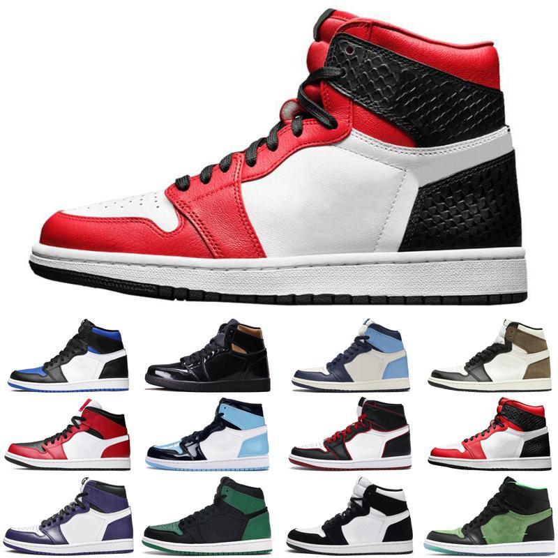 mais novo de cetimJordâniaretro 1 1s jumpman sapatas dos homens de ar mulheres basquete escuro Mocha Cobra UNC Bloodline dos homens das sapatilhas esportivas