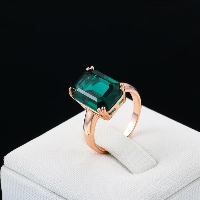 Natural Emerald anel de zircão diamante anéis para mulheres anéis de noivado de casamento com verde Gemstone anel 14K Rose Gold Fine Jewelry 201116