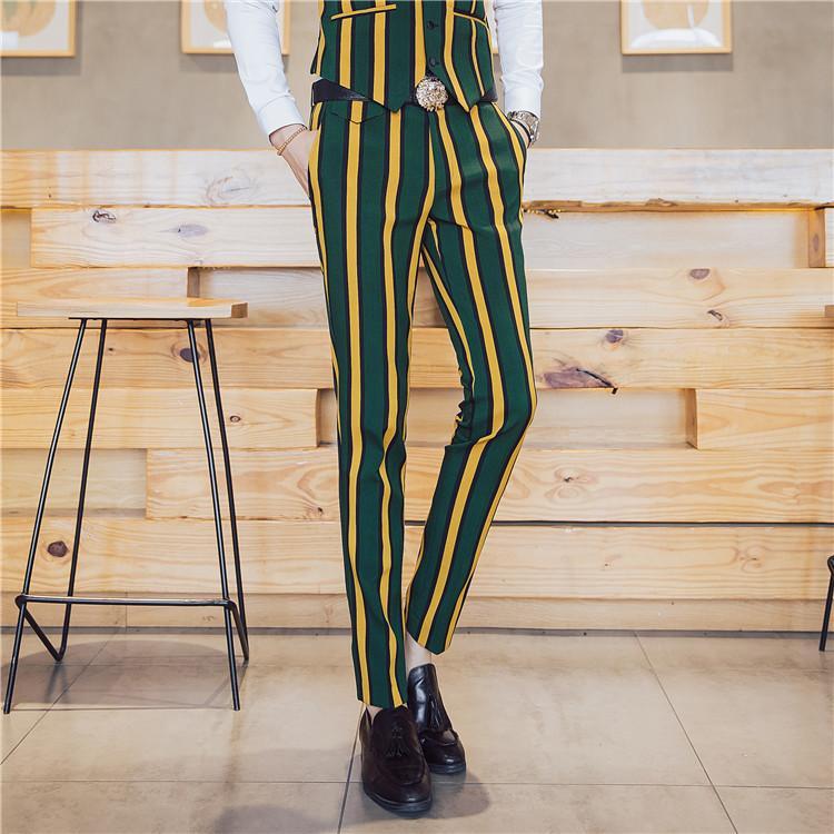 2020 полосы артистной сцены Шоу, одетое в мелководье мужской полосой мужской клуб смокинг штаны 8H2i