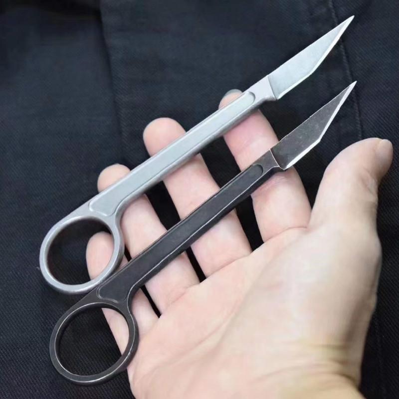 Bastinelli Couteaux de chasse Karambit poche tactique Couteau Camping Claw lame fixe Mini collier extérieur Camp Gadget de survie EDC outil