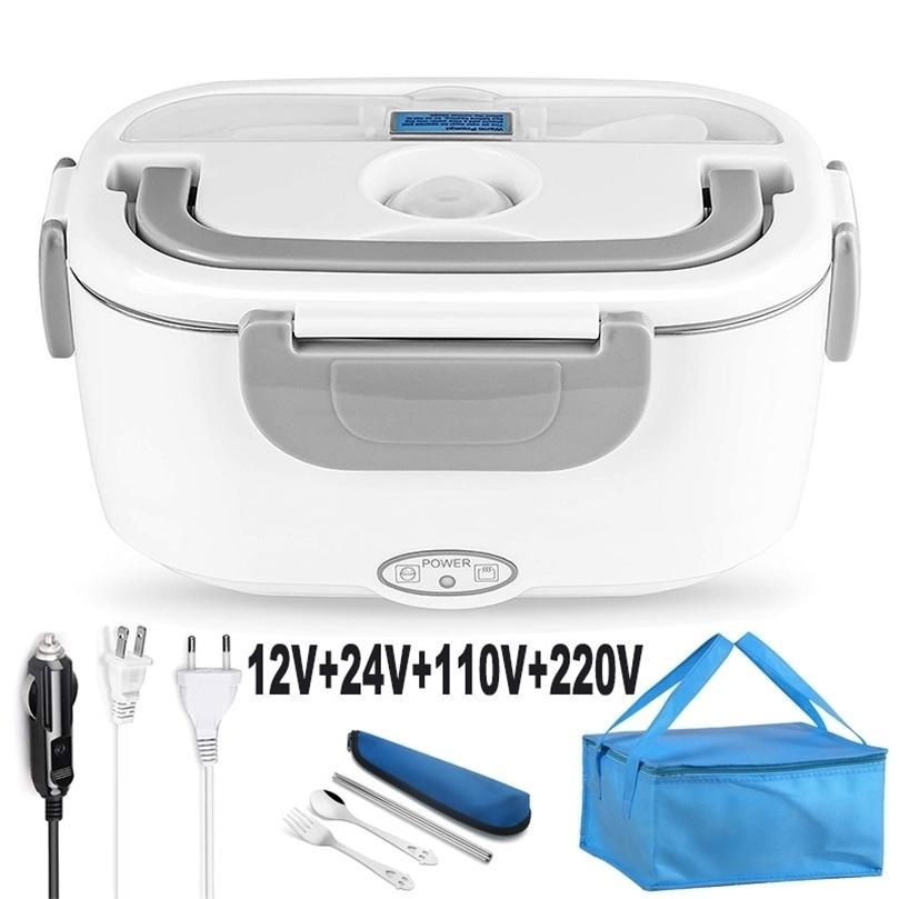 2 em 1 110V 220V 220V 12V 24v Aço Inoxidável Aquecimento de Aquecimento Aquecimento Aquecedor de Carro Alimento Comida Comutador Bento Caixa De Bento Set 201210