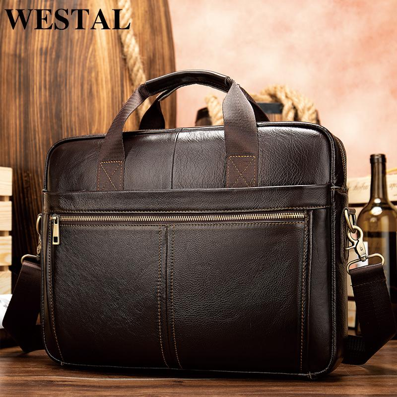 HBP WESTAL briefcase messenger genuine leather 14'' laptop bag men's briefcases office business tote for document 8572 Q0112