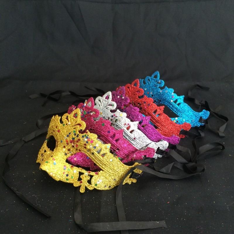 Мода маски маскарада Mardi Gras реквизит для женщин в стиле бешеный блеск блестки блестки половина лица маска мода много цветов 0 65DL ZZ