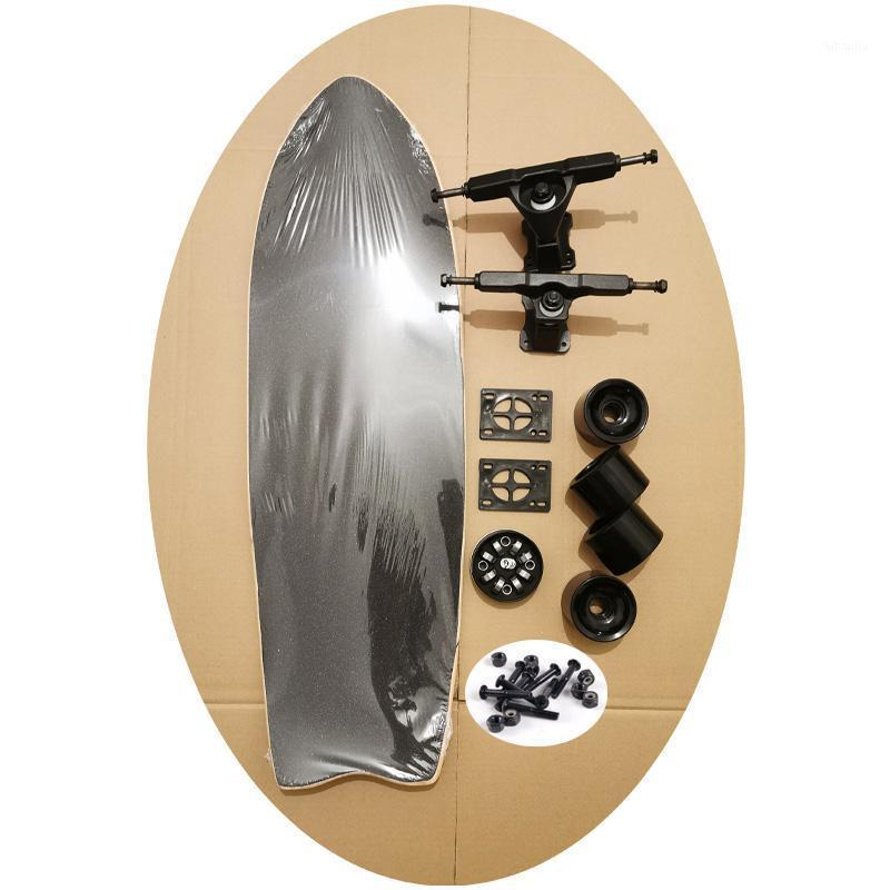 Kaliteli Komple Kiti Sörf Paten Güverte 9.5 inç Kaykay Güverte Bambu ve Epoksi Tutkal Rulmanlar 5Plies Kaykay Tekerlekler1