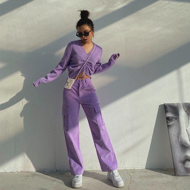 Vintage вельвет шаровары женщин корейской Опрятный Стиль Straight высокой талией Брюки женские Сыпучие повседневные брюки широкого покроя Pantalon C1114