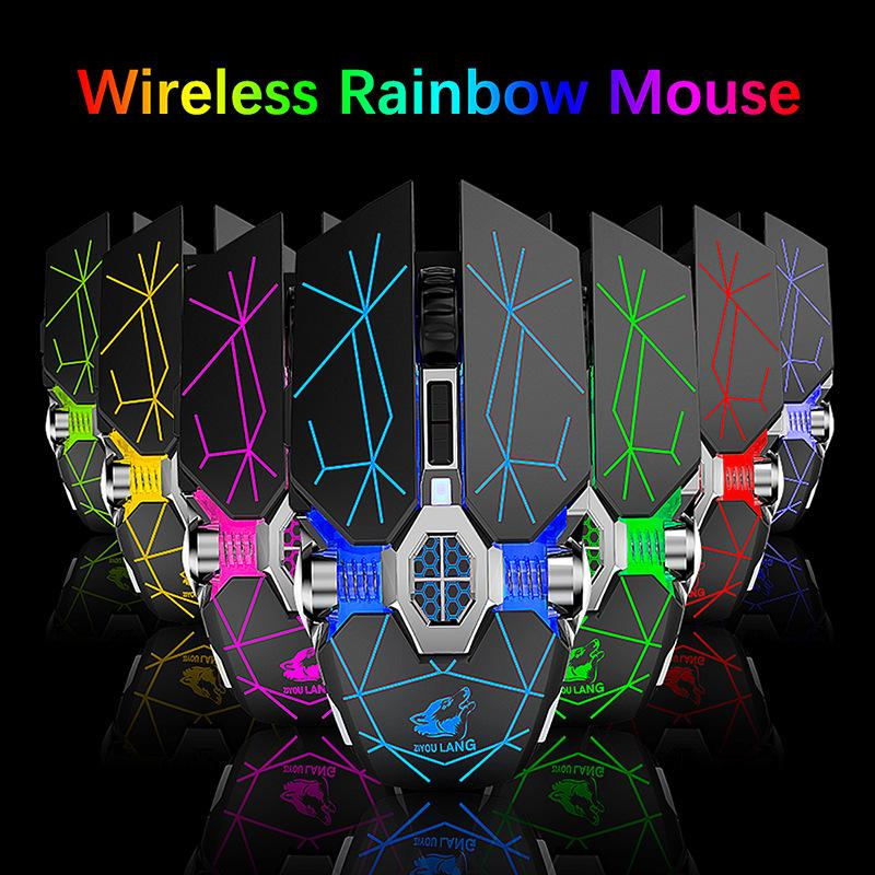 Hot X13 CARGA INALÁMBRICA GAMING MOUSE Mouse silencioso refrigerado por agua Luminoso Ratón mecánico Ratones 4 colores Envío gratis