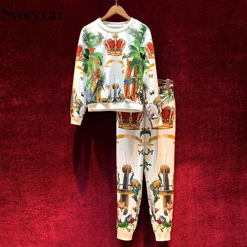 Svoryxiu мода взлетно-посадочная полоса осень зимние брюки костюмы женские старинные короны животных печать случайное движение два частя набор женщина 201120