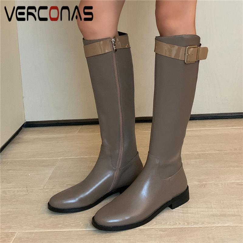 VERCONAS cuero auténtico hasta la rodilla botas altas para las mujeres de tacón bajo los zapatos Mujer Otoño Invierno decoración del metal de la cremallera lateral botas largas