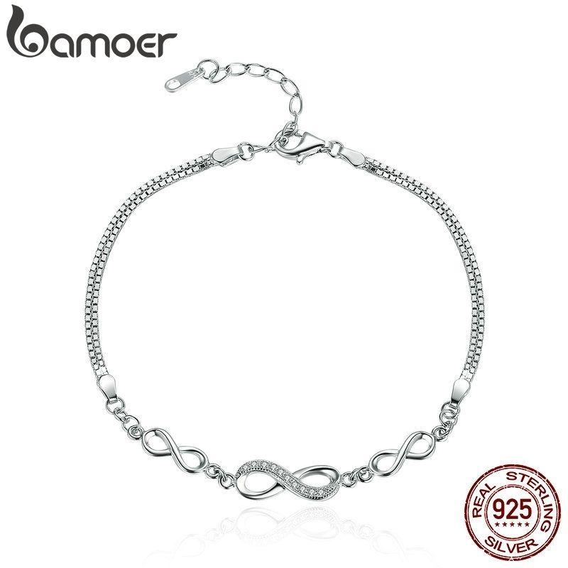 Bamoer Otantik 925 Ayar Gümüş Sonsuz Aşk Infinity Zincir Bağlantı Ayarlanabilir Kadınlar Bilezik Lüks Gümüş Takı SCB037 CX200612