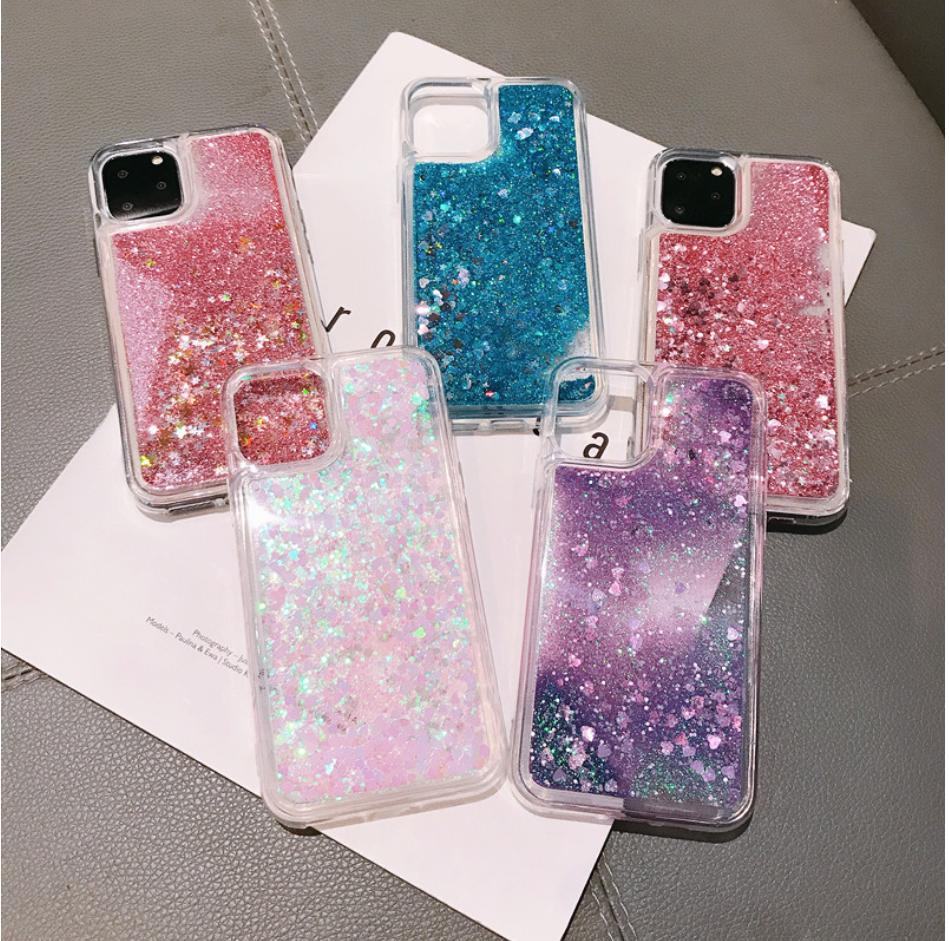 Líquido Quicksand Bling Glitter Phone Cases para iPhone 12 11 Pro Max XS MAX X XR 6 6S 8 7 Plus 5 engraxar os 5S SE Água Tampa Silicon