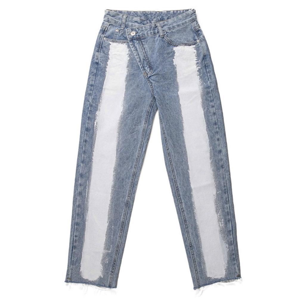 Deat 2020 Nuovi pantaloni di moda Pantaloni a vita alta Jeans da donna Denim Dritto Colore Blocco Blocco Pulsante Design Fit Per il tempo libero Wild AP804 W1222