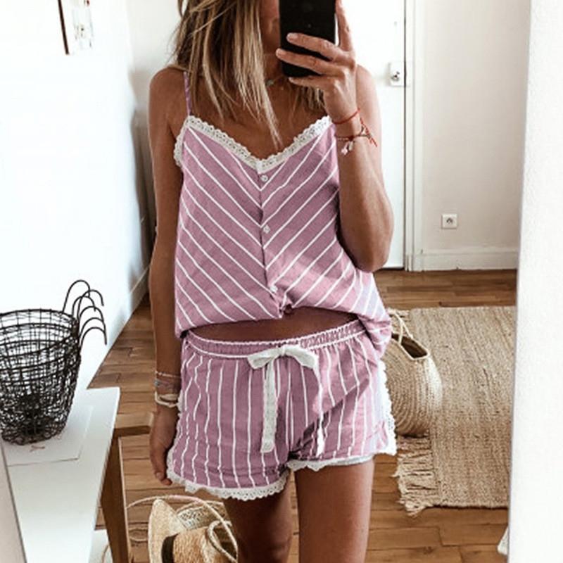 FineToo Женская полосатая пижама французский стиль Camisole кружевной пижамы набор женщин домашняя одежда без рукавов шорты M-2XL