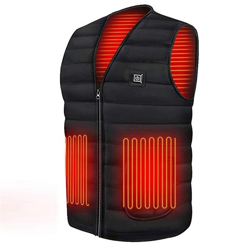 5 Zone Uomo Donna intelligente inverno riscaldata Vest ricarica USB giubbetto elettrico Zipper riscaldamento Attività Warm termica Gilet