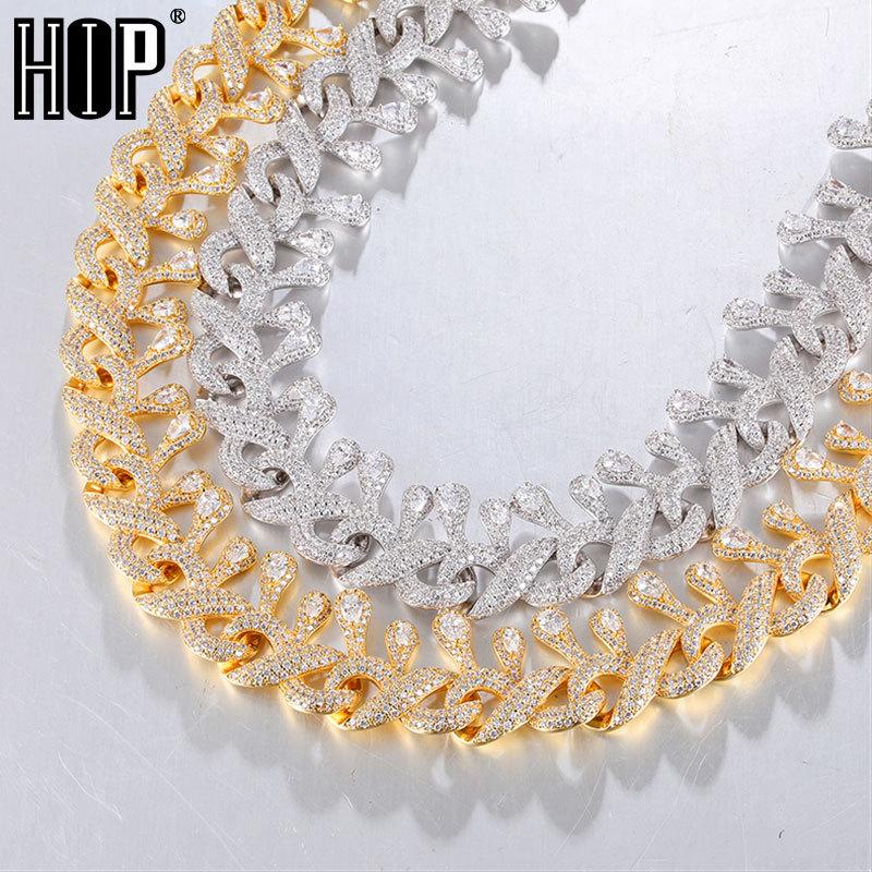 Hip Hop 15MM Bling Iced Out Water Drip Box Clasp Cuban Chain AAA CZ Stone Cubic Zirconia Necklaces For Men Women JewelryQ0115