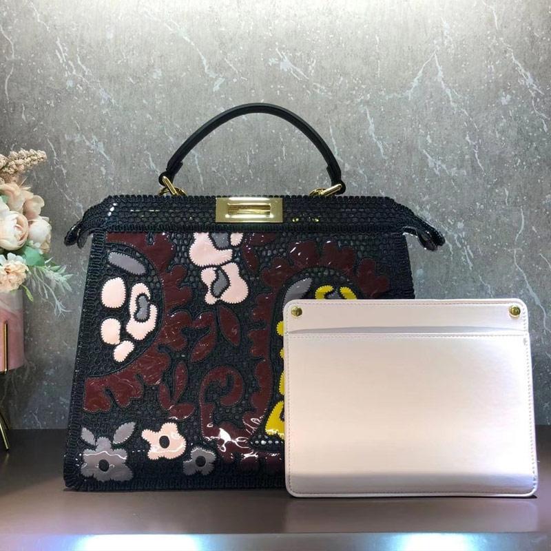 가죽 핸드백 어깨 가방 손 가방 높은 품질 진짜 가죽 패션 자수 패치 워크 컬러 걸쇠 레이디 가방 무료 배송